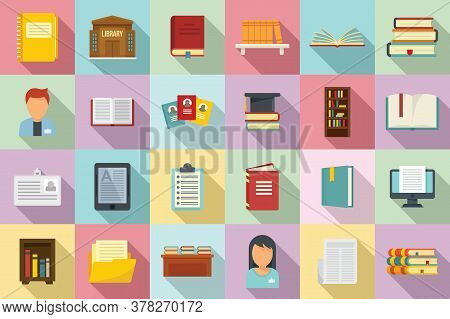 Library Icons Set. Flat Set Of Library Vector Icons For Web Design