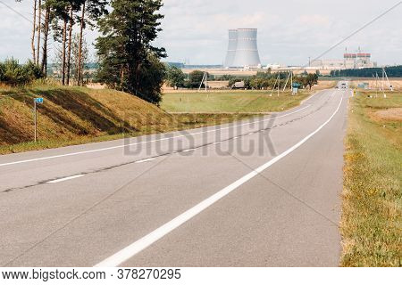 The Road Leading To The Nuclear Power Plant In The Ostrovets District.the Road To The Nuclear Power