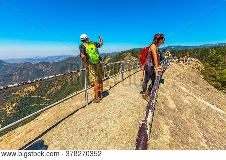 Sequoia National Park, California, United States - July 30, 2019:tourists In Summer Travel Visiting