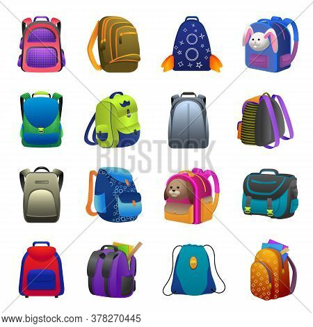 Backpack Icons Set. Cartoon Set Of Backpack Vector Icons For Web Design