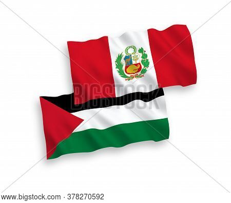 National Fabric Wave Flags Of Peru And Palestine Isolated On White Background. 1 To 2 Proportion. 3d