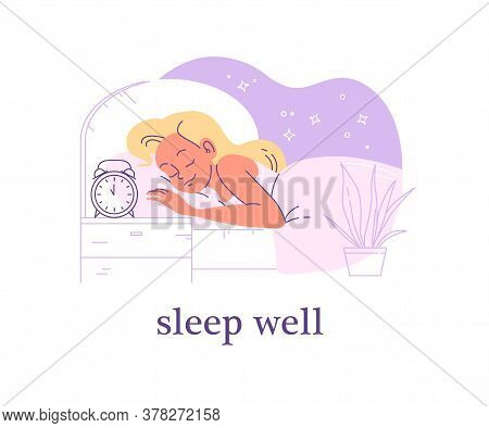 Young Woman Sleeping In Cozy Bed With Alarm Clock On Night Table. Well Sleep Time And Sleep Mode Con
