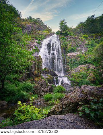 Beautiful Belelle Waterfall In Neda, Galicia, Spain