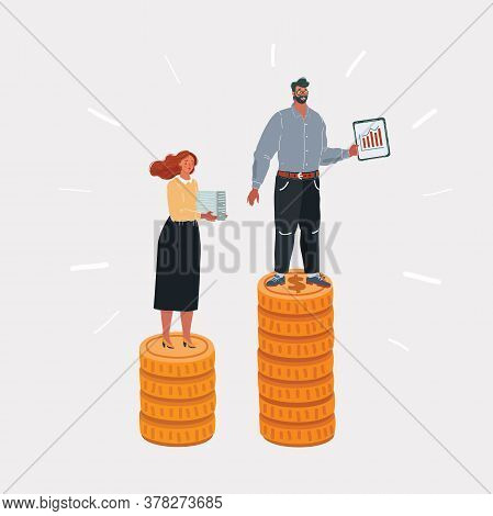 Cartoon Illustration Of Income Inequality. Man And Woman Have Different Salary. People On Stacks Of