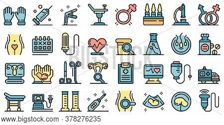 Gynecologist Icons Set. Outline Set Of Gynecologist Vector Icons Thin Line Color Flat On White