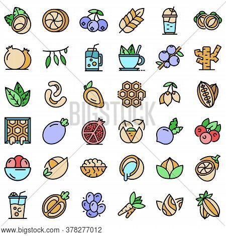 Superfood Icons Set. Outline Set Of Superfood Vector Icons Thin Line Color Flat On White