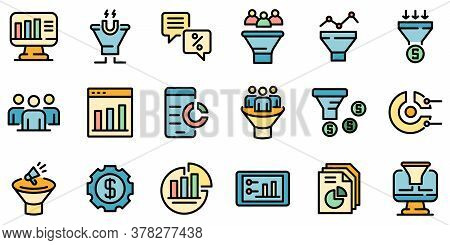 Conversion Rate Icons Set. Outline Set Of Conversion Rate Vector Icons Thin Line Color Flat On White