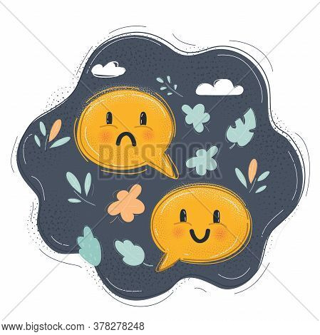 Illustration Of Unhappy And Happy Face In Speech Bubble. Feed Back Concept On Dark. Unhappy And Happ