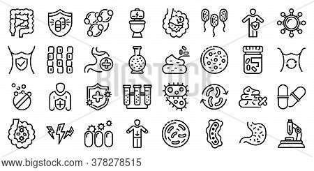 Probiotics Icons Set. Outline Set Of Probiotics Vector Icons For Web Design Isolated On White Backgr
