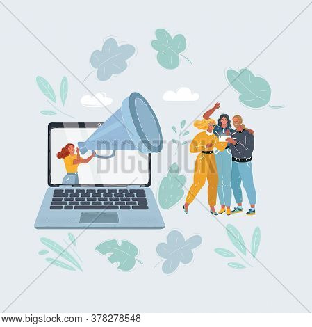 Vector Illustration Of Content Marketing Is Attract People Into Blog Or Place. Woman With Big Megaph