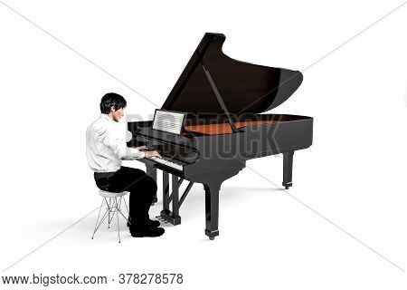 Pianist Sitting And Playing The Piano - Young Man Playing The Piano - Isolated On White Background -