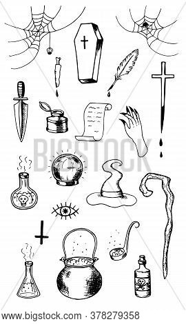 A Set Of Magical Witch Items. Cauldron Coffin Hat Staff Flasks With Potion Spider Web With Spiders H