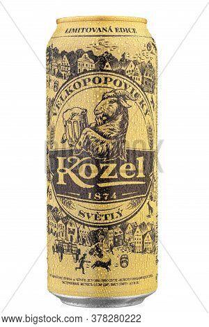 Ukraine, Kyiv - June 18. 2020: Aluminium Can Beer Kozel Is A Czech Lager Produced Since 1874 On Whit