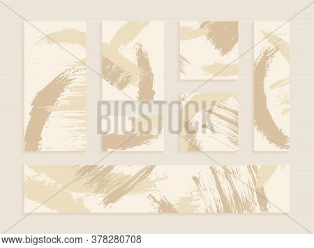 A Set Of Handmade Templates For Design. Beige And Brown Brush Strokes. Abstract Ink Blots. Business