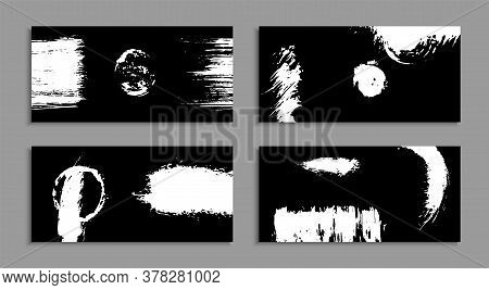 White Torn Ink Stains On A Black Background. Unusual Art Business Cards. A Set Of Handmade Templates