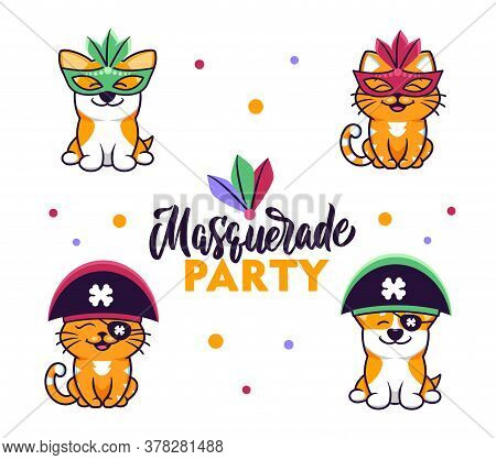 Collection Of Cute Animals Dressed In Masquerade Costumes For Carnival Parties. The Dog And Cat Cart