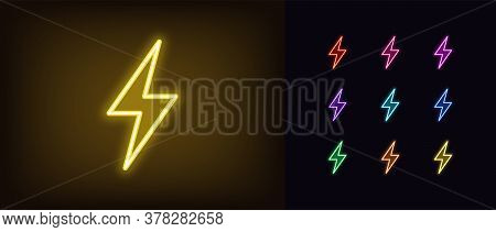 Neon Lightning Flash Icon. Glowing Neon Thunder Bolt Sign, Electrical Discharge In Vivid Colors. Bri