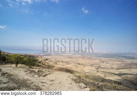 Look From Mount Nebo Hill To The Valley. Place Of Moses Grave, To The Valley. Typical Landscape Betw