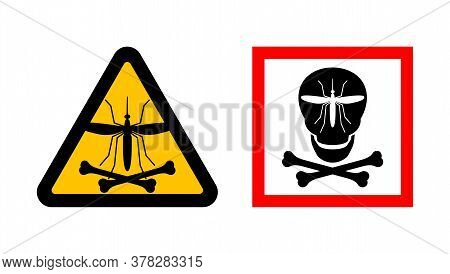Malaria Sign With Anopheles Mosquito That Transmit Human Infectious Disease And Human Skull And Bone