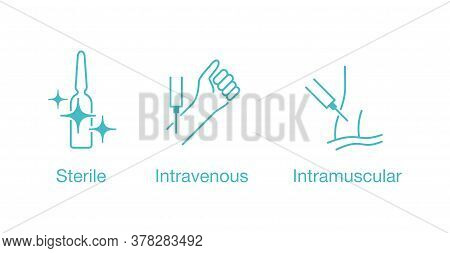 Sterile, Intravenous, Intramuscular Icons Set For Packaging Of Medications For Syringe Injection - I