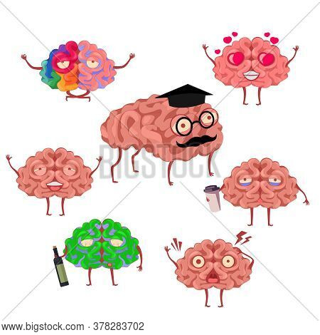 Cartoon Color Brain Emotions Icons Set Flat Design Style Include Of Love And Sad. Vector Illustratio