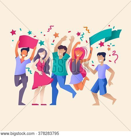 Cartoon Color Characters People Crowd Joyful Party Celebration Concept Flat Design Style. Vector Ill