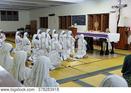 KOLKATA, INDIA - MARCH 01, 2020: Eucharistic Adoration in the chapel of the Missionaries of Charity in Mother House in Kolkata, India