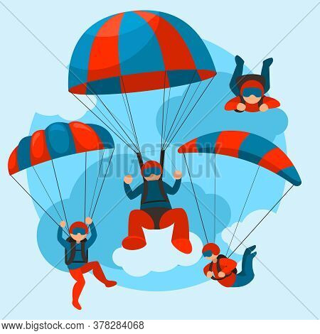 Cartoon Color Characters People Skydivers Flying Concept Flat Design Style. Vector Illustration Of S