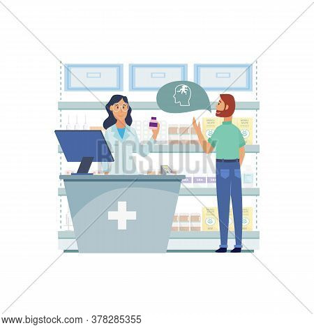 Woman Doctor And Pharmacist With Man Client In The Pharmacy.