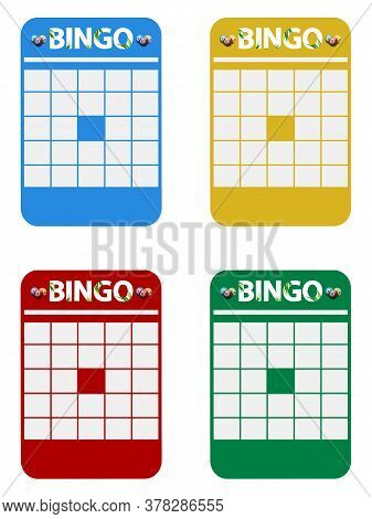 Four Blank Copy Space Bingo Cards Blue Yellow Red And Green With Bingo Decorative Text And Balls Ove
