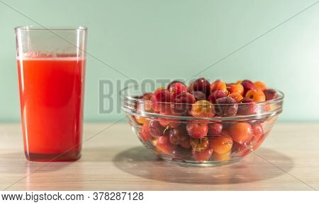 Fresh Fruits Of Red Plum. Is A Species Of The Genus Prunus With Many Varieties. It Is The Most Commo