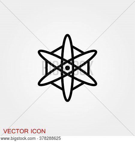 Atom Icon, Black Science Fiction Atom Icon