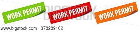 Work Permit Sticker. Work Permit Square Isolated Sign. Work Permit Label