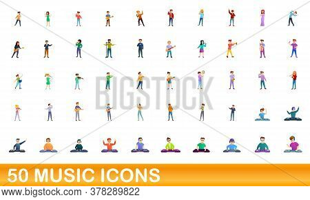 50 Music Icons Set. Cartoon Illustration Of 50 Music Icons Vector Set Isolated On White Background