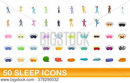 50 Sleep Icons Set. Cartoon Illustration Of 50 Sleep Icons Vector Set Isolated On White Background