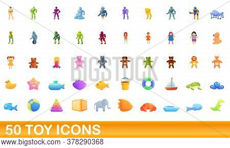 50 Toy Icons Set. Cartoon Illustration Of 50 Toy Icons Vector Set Isolated On White Background