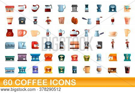 60 Coffee Icons Set. Cartoon Illustration Of 60 Coffee Icons Vector Set Isolated On White Background