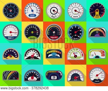 Speedometer Vector Flat Set Icon. Vector Illustration Speed Of Car On White Background . Flat Set Ic