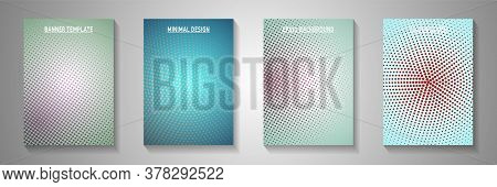 Decorative Circle Faded Screen Tone Title Page Templates Vector Kit. Industrial Brochure Perforated