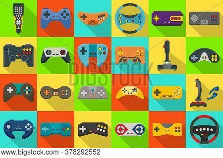 Game Of Joystick Isolated Flat Set Icon. Vector Illustration Video Console On White Background .flat