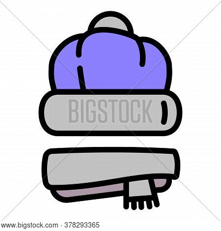 Winter Headwear And Scarf Icon. Outline Winter Headwear And Scarf Vector Icon For Web Design Isolate