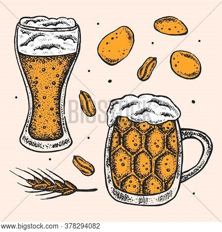 Oktoberfest Clip Art, Set Of Elements. Alcohol. Glass Of Craft Beer, Snacks, Fast Food. German Tradi