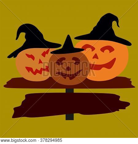 Jack The Pumpkin In The Witchs Hat On The Board .pumpkin For Halloween.vector Illustration On A Yell