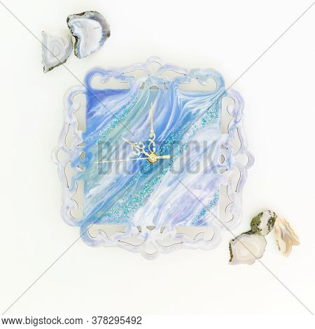 Composition With Resin Art Watch And Agat Stones On White Background. Flat Lay, Top View