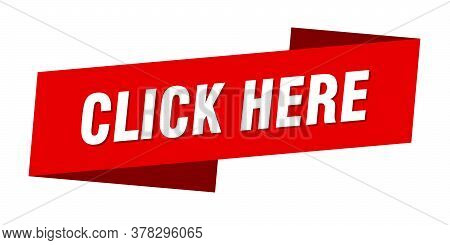 Click Here Banner Template. Click Here Ribbon Label Sign