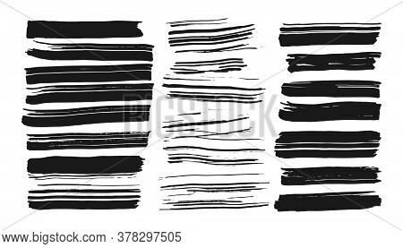 Different Handdrawn Ink Brush Stroke Set. Abstract Line For Artistic Design. Black Paint, Silhouette