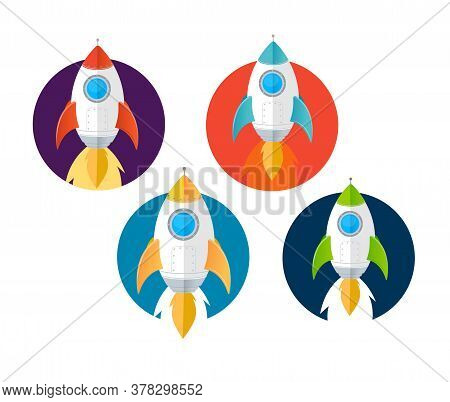 Cartoon Color Rockets Ships Icons Set Flat Design Style . Vector Illustration Of Icon Rocket Ship Or