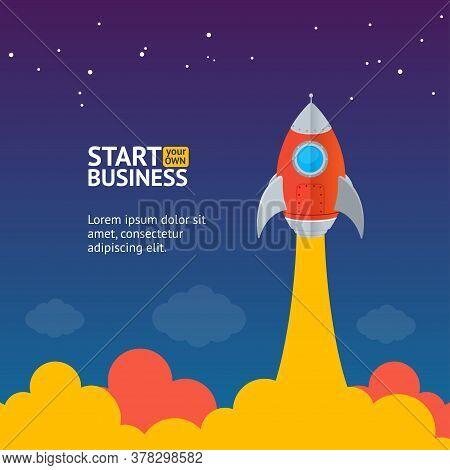 Rocket Ship Startup Concept Banner Flat Design Style Symbol Of Progress And Success. Vector Illustra