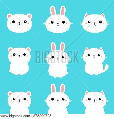 White Rabbit Bunny, Polar Bear, Cat, Kitten, Kitty. Kawaii Cartoon Character Set. Cute Funny Head Fa