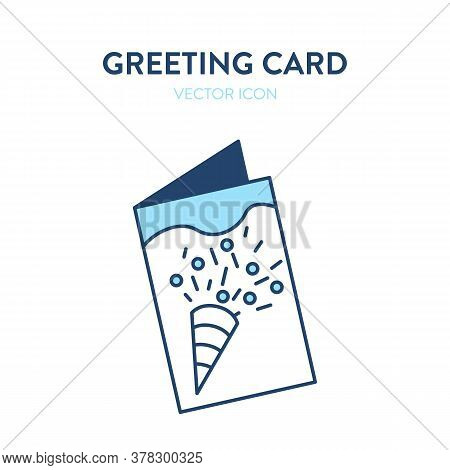 Greeting Card Icon. Vector Illustration Of Slightly Open Greeting Card With Image Of Confetti On The